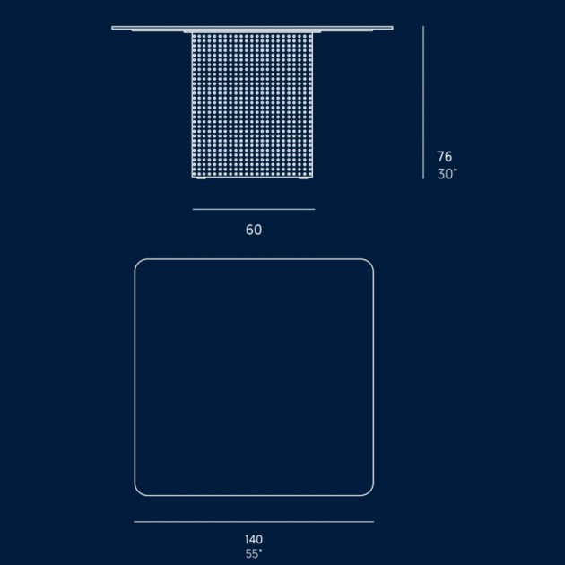 medidas mesa Solanas 140 x 140 cm Gandía Blasco