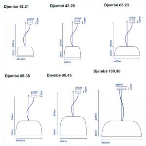 medidas lámparas suspensión Djembé Marset