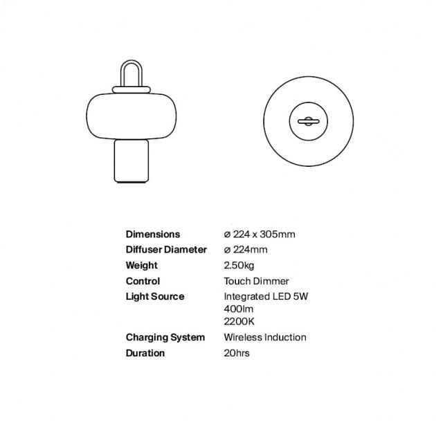 medidas y características lámpara portátil Nox Astep