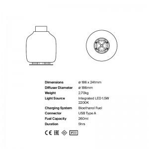 características y medidas lámpara Candela Astep
