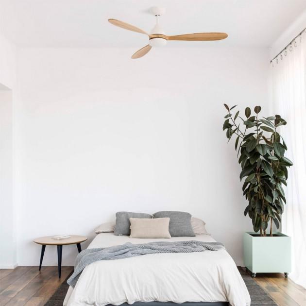 ambiente dormitorio ventilador de techo Poros Faro Barcelona