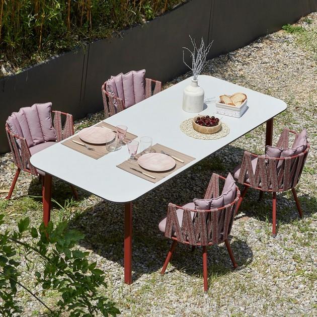 jardín mesa comedor Anthea Indecasa rosa/rojo