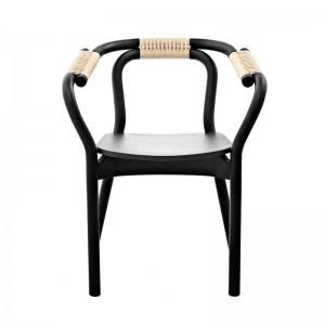Silla con brazos Knot Chair Black/Nature de Normann Copenhagen
