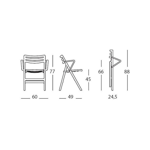 dimensiones Silla plegable con brazos Air de Magis