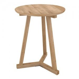 Mesa auxiliar Tripod fabricada en roble natural de tablero redondo y tripata unida