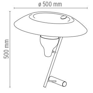 Modelo 548 Lámpara Flos medidas