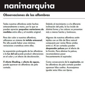 garantía calidad Alfombra Digit 1 Nanimarquina